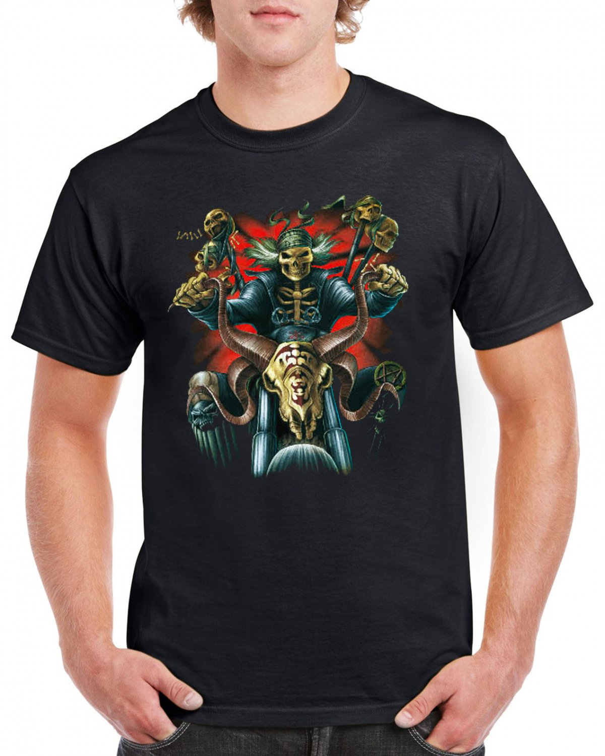 Heavy Metal Skull Skeleton T-shirt Motorcycle Rider Devil Cool Tshirt Music Festival Top Tee