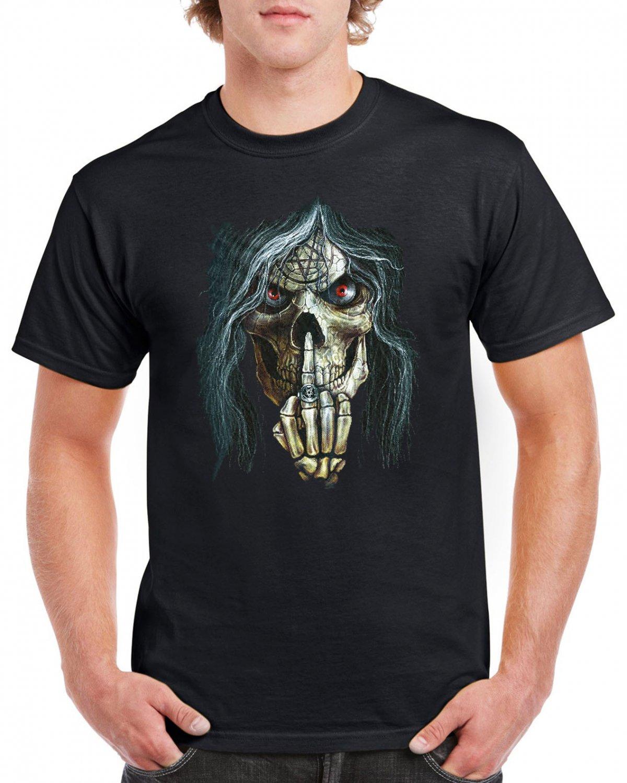 Heavy Metal Skull Skeleton F*ck You T-shirt Devil Cool Music Tshirt Festival Top Tee