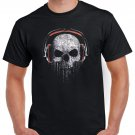 Skull Dj Headphones T-shirt Heavy Metal Rock Tshirt Cool Festival Top Tee