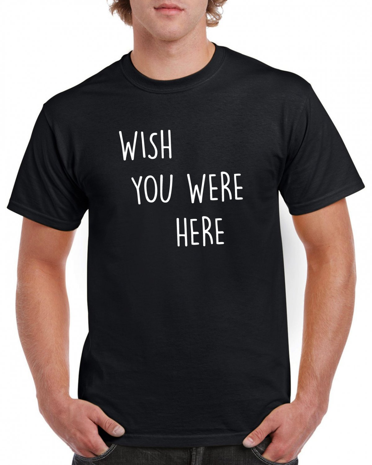 Wish You Were Here Tshirt Rock T-shirt Pink Floyd Lyrics Quote Top Tee