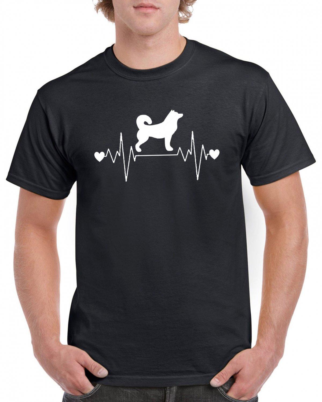 Akita Dog Heart Pulse Rate T-shirt Dog Lovers Tshirt Cool Unisex Top Tee