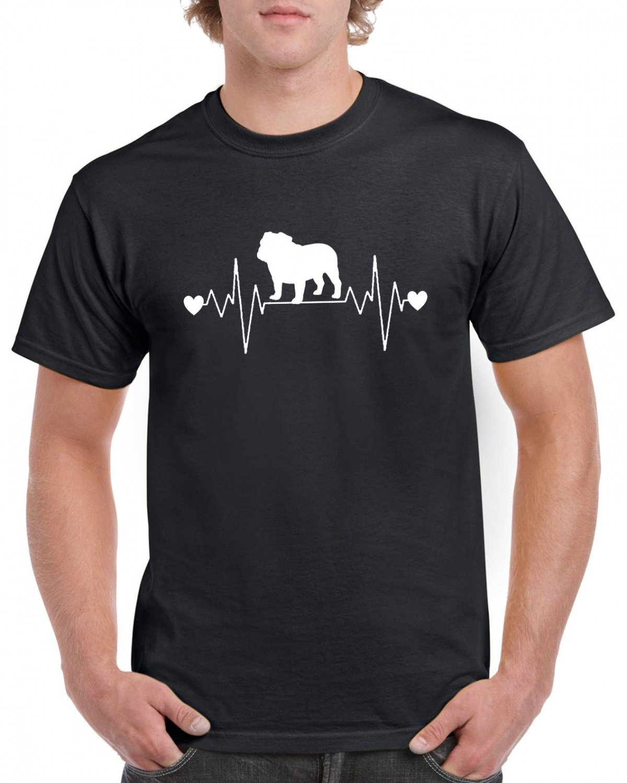 Bulldog Dog Heart Pulse Rate T-shirt Dog Lovers Tshirt Cool Unisex Top Tee