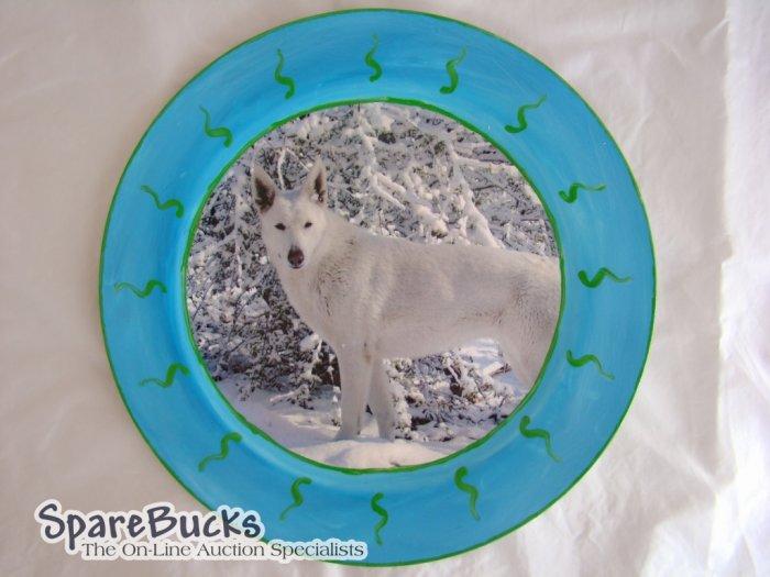 White German Shepherd Decoupage Plate Limited Edition