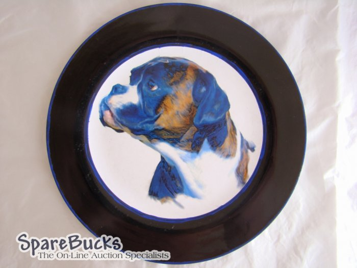 NEW Boxer Dog on Blue Collectable Decoupage Plate LE