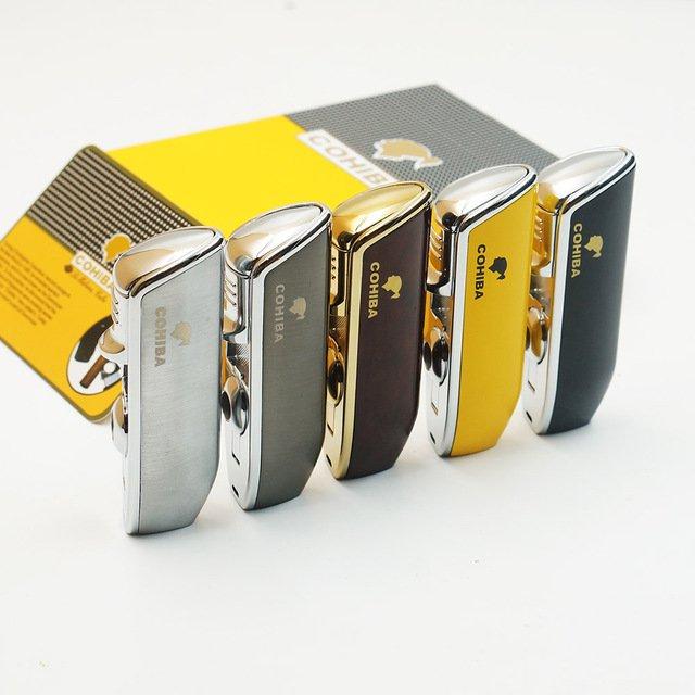 Original COHIBA Tool Pocket Size Gloss Yellow Metal Snake Mouth Shape Butane Gas Windproof 3 To