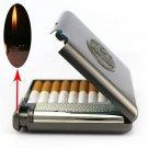 (20 cigarette) Men's vintage metal cigarette case with butane gas lighter,Lnflatable windpr