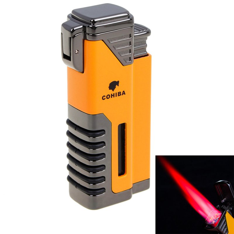 COHIBA Windproof Lighter Torch Jet Flame Refillable Inflatable Triple Flame Cigar Lighter Cigar
