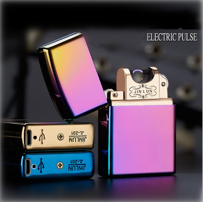 Creative Gift Arc Lighter With Gift Box Double Pulsed Arc Slim Windproof cigarette cigar Lighte