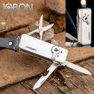 JOBON Multifunctional Refillable Gas Flame Cigarette Lighter With Knife Scissors Keychain Bottl