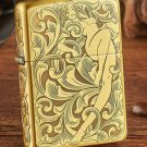 Kerosene windproof lighters cu surface etching Beautiful faery and skeleton tang grass fairy