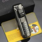 Cohiba Gun gray Jet Flame Built-in Punch Cigar Lighter Windproof Refillable Butane Gas Torch To