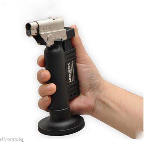 HONEST Adjustable Flame Butane Gas Lighter Jet Torch Cigarette Cigar Lighter Black #500 BC1234