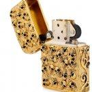 zpo lighter brand Authentic Hand-carved lighters heavy armor gold skull logo city of evil gold