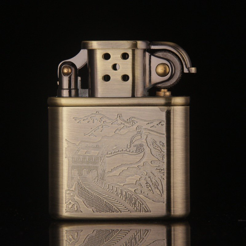 Vintage Gadget Great Wall pattern metal copper gasoline kerosene lighter,Men's cigarette br
