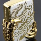 wholesale brand Lighter both Carving gold double dragon 2 Alondra BC1455