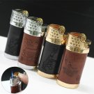 Personality Creative Leather Grinding wheel Gas lighter windproof blue Flame gas lighter Men ci