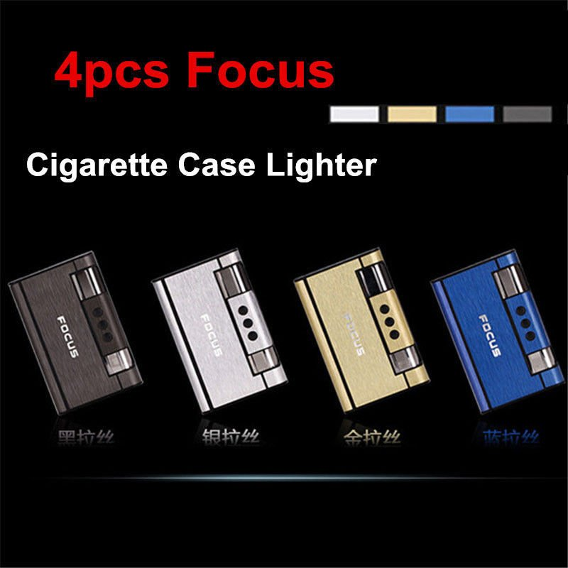 4x Focus Automatic Ejection Cigarette Butane Cigarette Case W/ Internal Lighter BC1586