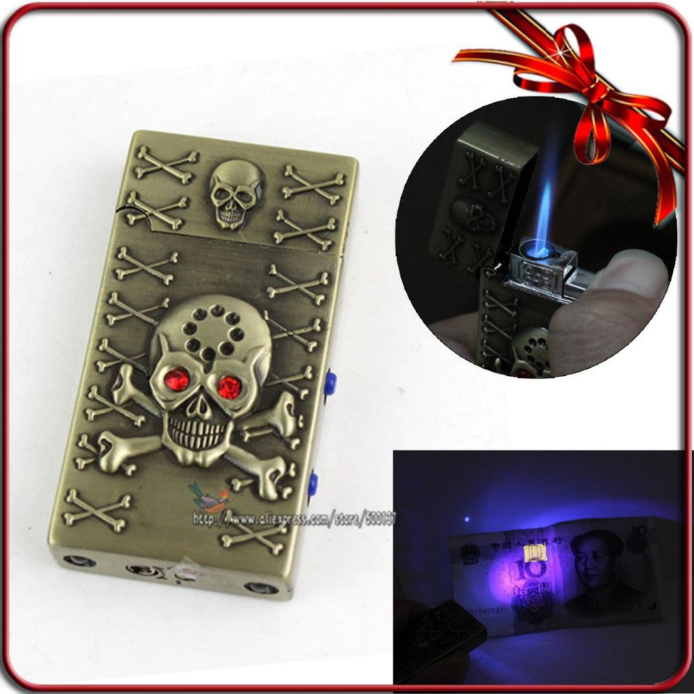 """Ping"" Skull Voice Jet Flame Cigarette Cigar Butane Gas Lighter With White + Purple L"