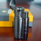 COHIBA High Quality Titanium Three Fire Windproof Triple Torch Jet Flame Cigar Lighter with Cig