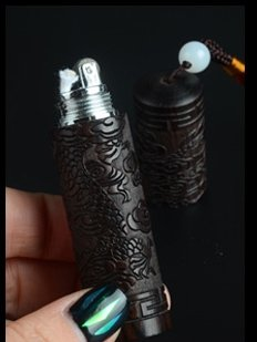 8*1.8cm Rosewood kerosene grinding wheel hand-carved dragon old-fashioned lighters BC1900