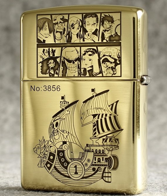 MJL wholesale double engraving One Piece Luffy  Silhouette lighter brand Genuine copper gold li
