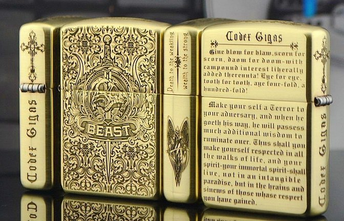 QRJP wholesale  lighter copper Five-sided carved armor carving the devil Bible Satan name BC1929