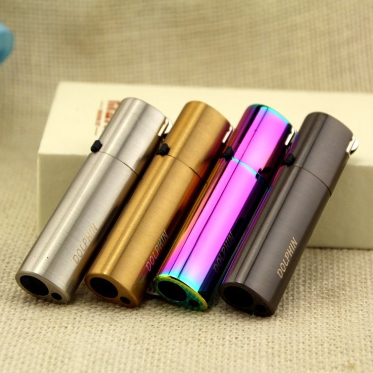 2016 new round set fire straight creative metal inflatable lighter BC1968