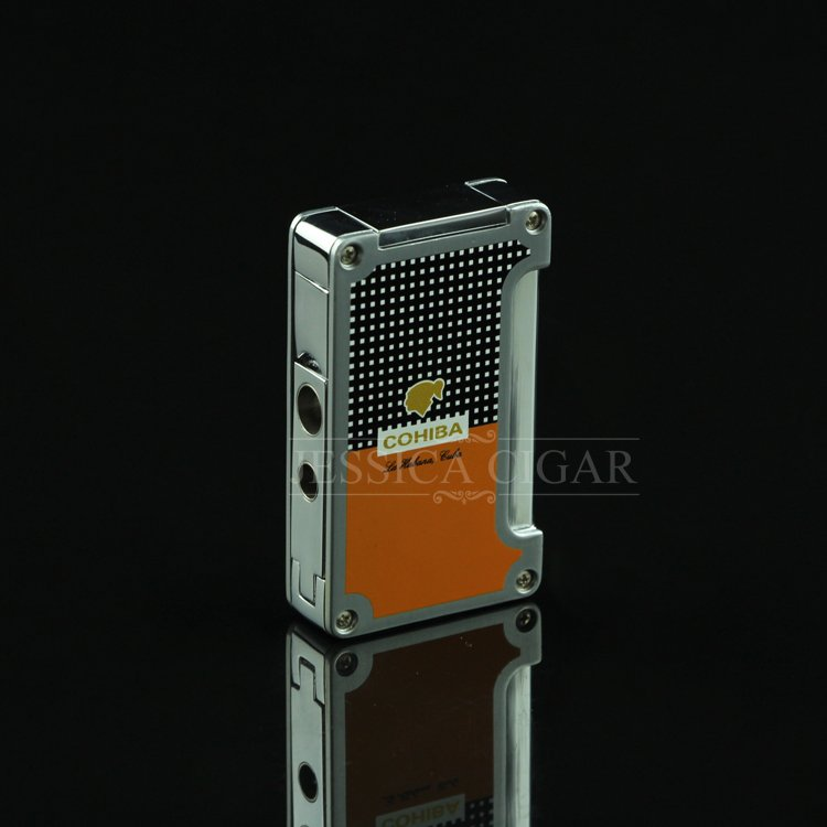 COHIBA Orange Black Portable Windproof Torch Flame Jet Refillable Cigarette Cigar Lighter w/ Do