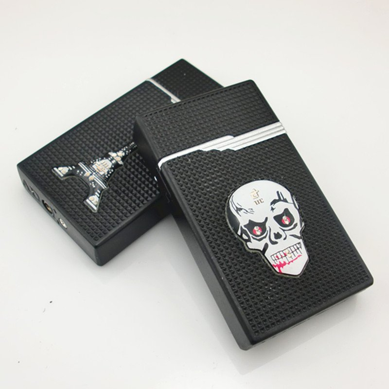 2016  creative skull tower with seven lights flash metal thin gas lighters 10pcs/lot free shipp