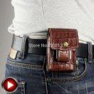 Men Crocodile Pattern Genuine Leather Cigarette Case Wallet ,With Lighter Holder Waist Belt Loo