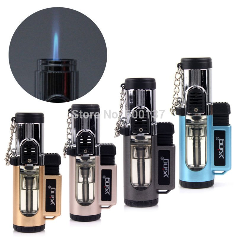 Clear Jet Flame Tank Cigarette Cigar Butane Gas Lighter With Continuous Flame Switch BC2324