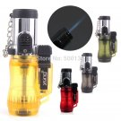 Clear Jet Flame Gas Tank Cigarette Cigar Butane Lighter With Continuous flame switch BC2328