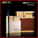 JOBON leather Windproof butane gas lighter.Black men's cigarette lighter Repeat inflatable