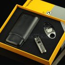Leathe cigar case set cigar lighters  cigar cutter men gift smoking cigar accessory set BC2393