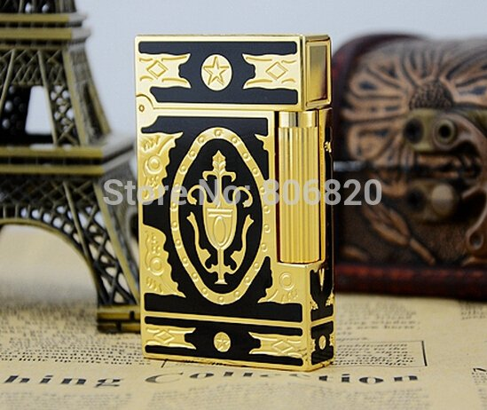 S.T Memorial Dupont lighter Bright Sound!  In Box  black+ gold  Serial number C119 BC2569