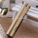 Cylinder Flint Wheel Windproof Jet Flame Cigarette Cigar Butane Gas Lighter Gold BC2593
