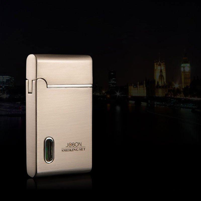 Jobon LED Light Torch Jet Flame Cigarette Lighter Adjustable Fuel Gas Lighter BC2648