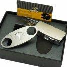 COHIBA Matt Silver Metal Jet Flame Cigar Cigarette Lighter W/ 3 Size  Punch Cutter Set BC2746