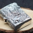 S925 sterling silver pure hand carved retro relief silver dragon  56*45mm  men lighters BC2802