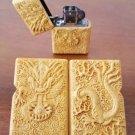 3style Cliff yellow wood Hand made embossed kerosene  Dragon phoenix lighters with zpo brand s