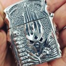 56*45*2mm Four sides carve S925 sterling silver hand carved   relief silver Shaped Skull hand