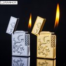 Fashion China dragons and phoenixe Bright Sound Cigarette Lighter Metal Dupont Gas Inflatable B