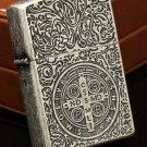 3pcs/lot zorr brand  3 side carving Ancient silver Cstantine  Oil Kerosene Retro Lighter  BC3017