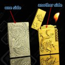 Metal double-sided embossed relief gas lighter inflatable ultra - thin grinding wheel flame lig