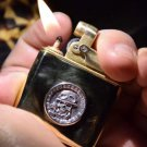 handmade World War II Memorial Edition Retro Brass Lighter 925 sterling silver skull commander