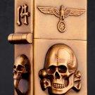 Five sides carved brand liner Hand-carved 3D lighter relief  6.1*4.8*2.5cm copper handmade skul