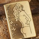 LSC zpo brand lighter 3-sided carving  Pure copper sexy beauty  BC3566