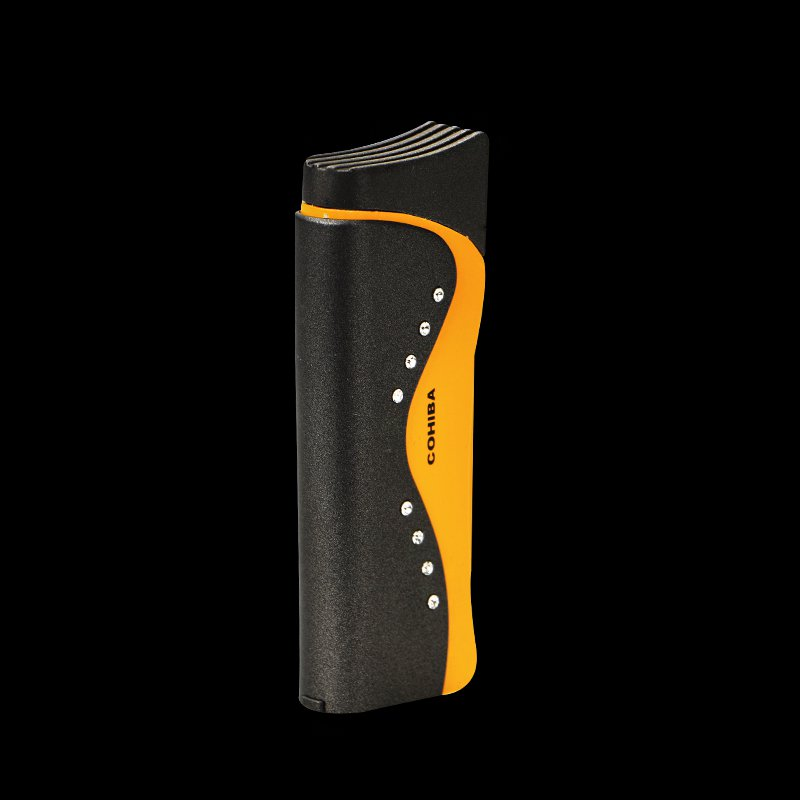 COHIBA Exquisite Packaging Titanium Pocket Single Fire Torch Jet Flame Cigar Lighter with Cigar