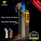 COHIBA Exquisite Packaging Titanium Pocket Windproof Triple 3 Torch Jet Flame Cigar Lighter wit