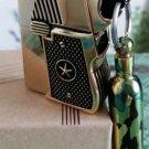 LMT 6*4.5*1.2cm Heavy armor kerosene gold copper guns  lighters with 10ML oil bottle  retro old